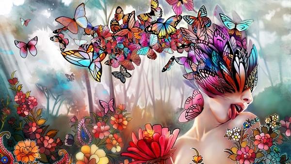 壁紙アート、花、蝶、女の子、言語、コラージュ